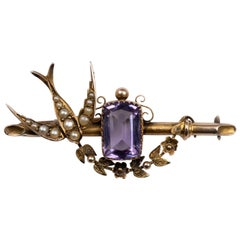 Antique Gold Amethyst and Pearl Swallow Bird Flower Garland Sweetheart Brooch