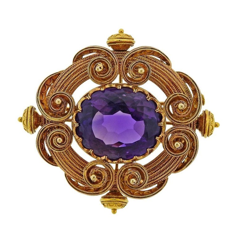 Women's Antique Gold Amethyst Brooch Pin For Sale