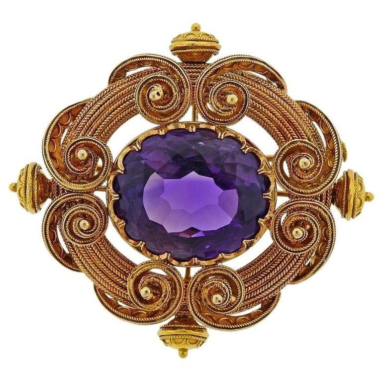 Antique Gold Amethyst Brooch Pin For Sale