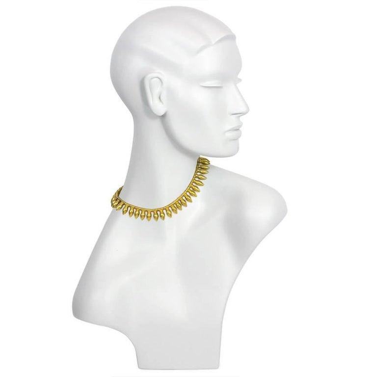 Victorian Antique Gold Amphora Fringe Necklace, Vatican Marks For Sale