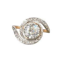 Antique Gold and 1.25 Carats Diamonds French Ring