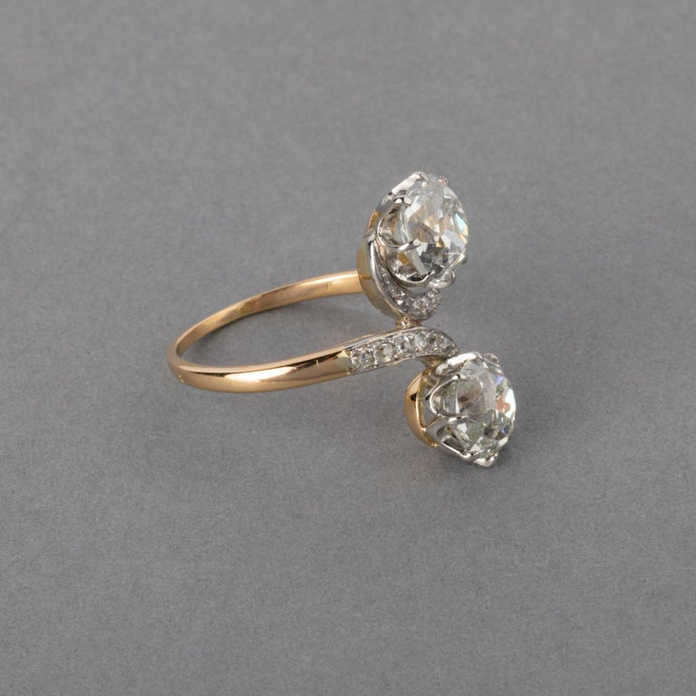 Antique Cushion Cut Antique Gold and 3.30 Carat Diamonds French Toi et Moi Ring For Sale