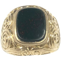 Antique Gold and Bloodstone Gents Signet Ring