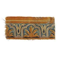 Antique Gold and Blue Savonnerie Rug Fragment