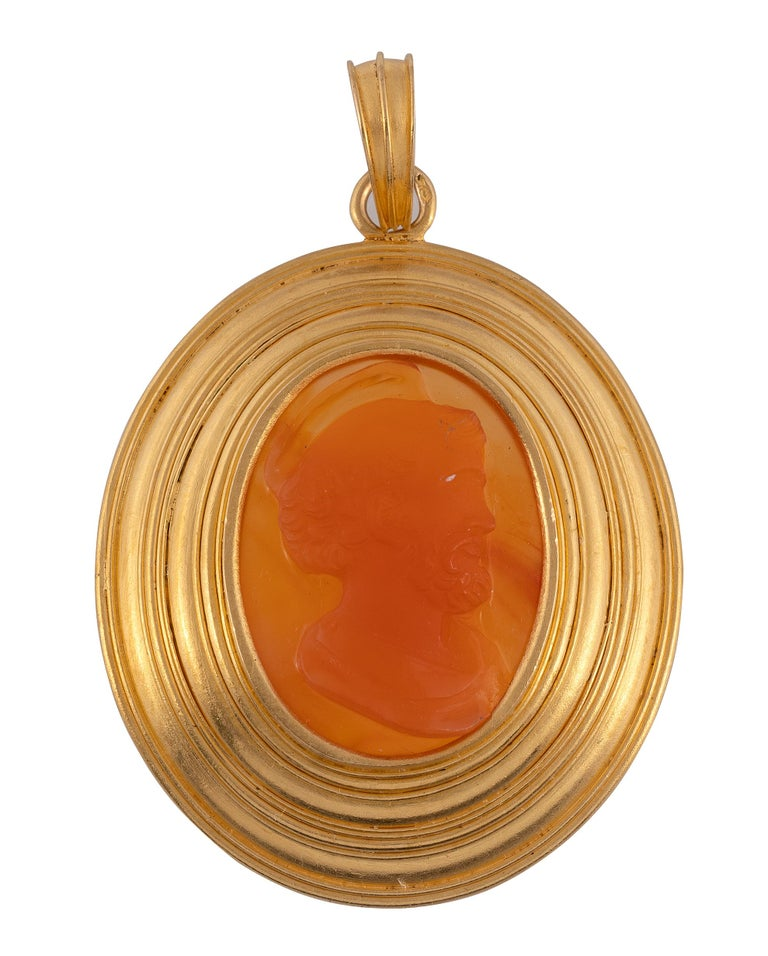 Victorian Antique Gold and Cameo Bishop's Pendant Dated 1842 For Sale