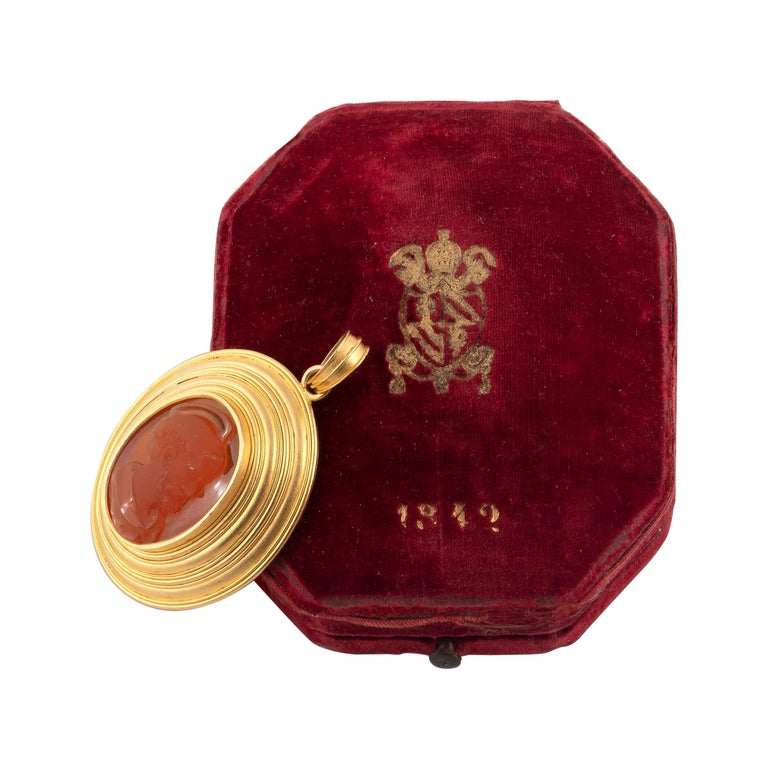 Antique Gold and Cameo Bishop's Pendant Dated 1842 For Sale