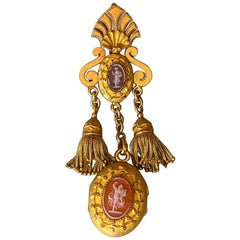 Antique Gold and Cameo French Locket Pendant