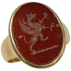 Antique Gold and Carved Stone Signet Ring