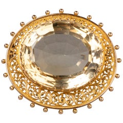 Antique Gold and Citrine Brooch
