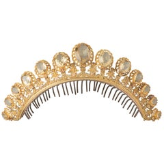 Antique Gold and Citrines French Diadema
