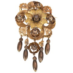 Antique Gold and Diamond Brooch, Late 1800