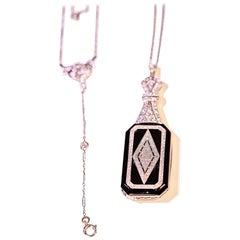 Antique Gold and Diamond Lorgnette Reading Glasses Pendant Necklace
