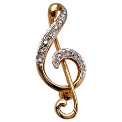 Antique Gold and Diamond Musical Clef Pin