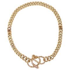 Antique Gold and Diamond Snake Necklace/ Bracelet