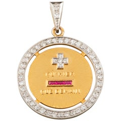 Antique Gold and Diamonds French Love Medal