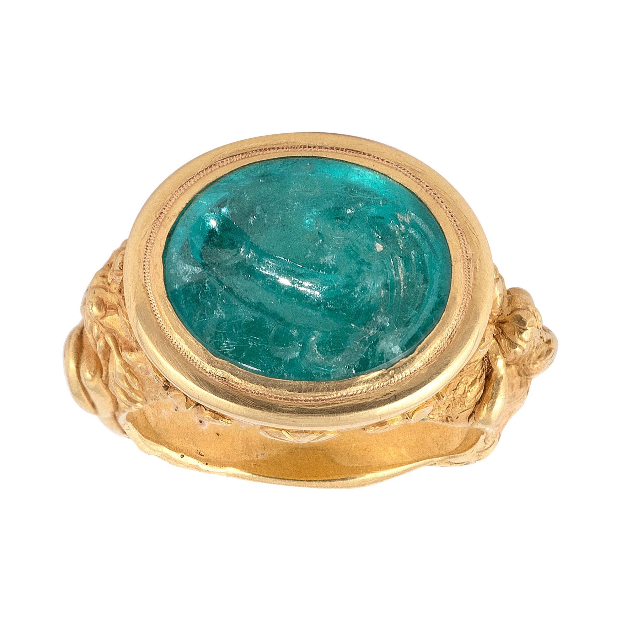 Antique Gold and Emerald Intaglio Winged Phallus Ring