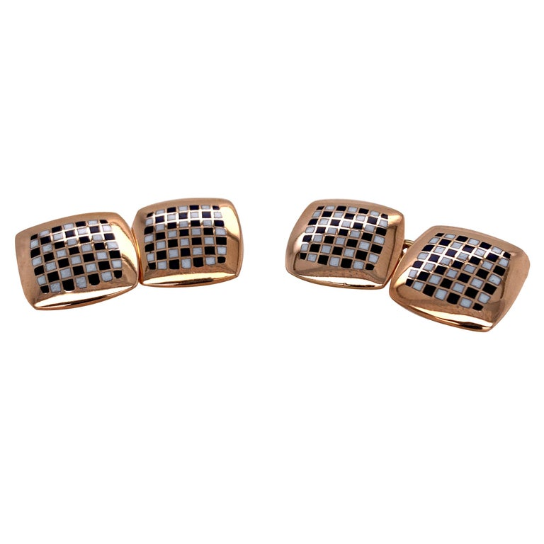 Antique Gold and Enamel Cufflinks For Sale