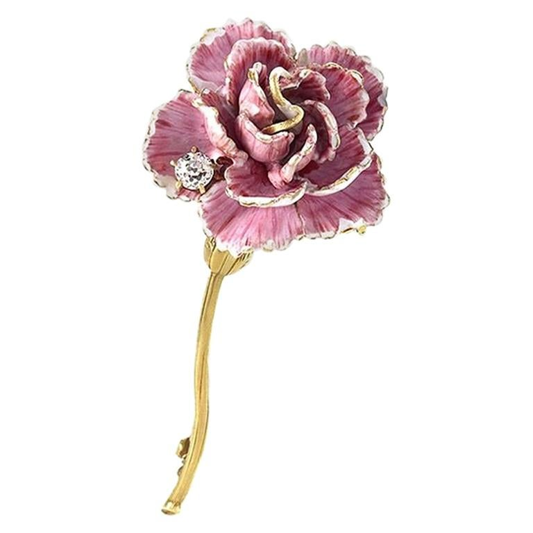 981fc43d03e Antique Gold and Enamel Flower Brooch with Diamond by Tiffany and Co ...