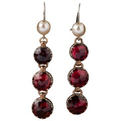 Antique Gold and Garnets French Earrings