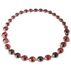 Antique Gold and Garnets French Necklace