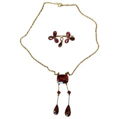 Antique Gold and Garnets French Perpignan's Necklace and Brooch