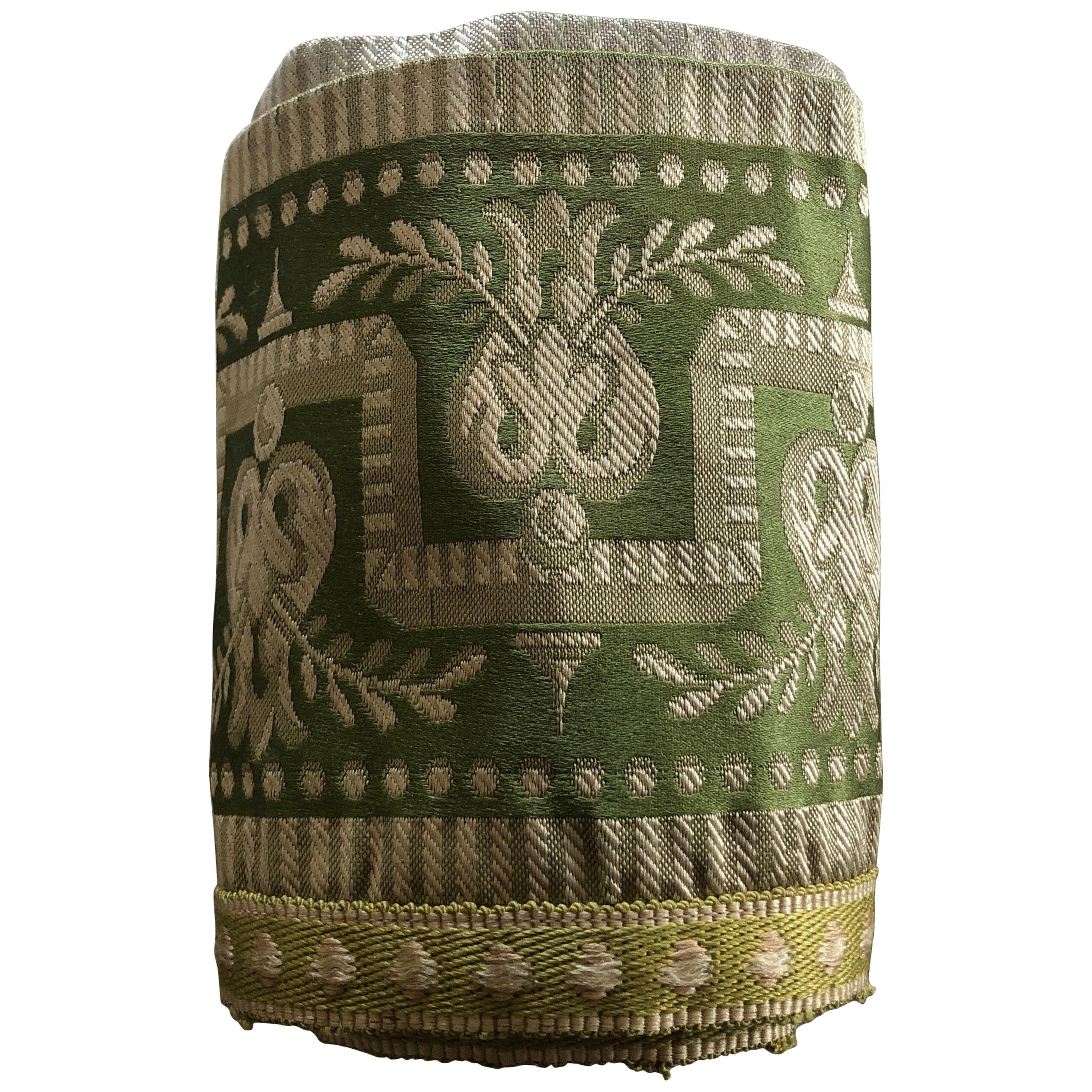Antique Gold and Green Greek Key Pattern Woven Silk Decorative Trims