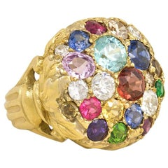 Antique Gold and Multicolored Gemstone Ring with Foliate and Urn Motifs