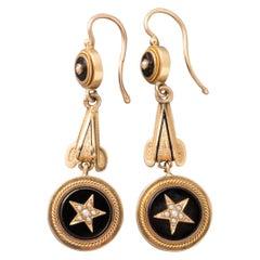 Antique Gold and Onyx Napoleon III Earrings