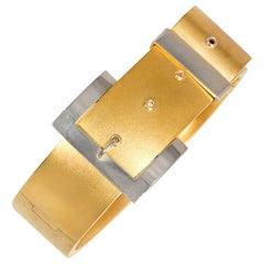 Antique Gold and Platinum Bangle Bracelet of Belt Strap Design
