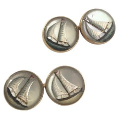 Antique Gold and Reverse Crystal Sail Boat Cufflinks