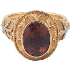 Antique Gold and Rubellite Bishop Ring