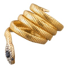 Antique Gold and Sapphire French Victorian Snake Bracelet