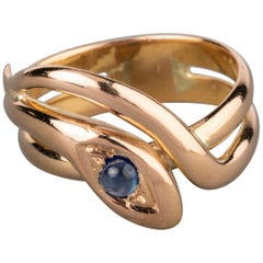 Antique Gold and Sapphire Snake Ring