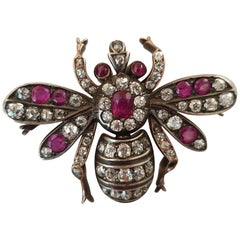 Antique Gold and Silver Diamond and Burma Red Ruby Insect Brooch