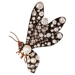 Antique Gold and Silver Diamond and Pearl Bee Brooch