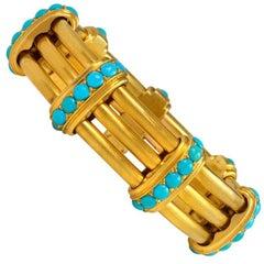 Antique Gold and Turquoise Bangle Bracelet