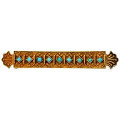 Antique Gold and Turquoise Bar Pin Brooch