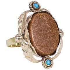 Antique Gold, Goldstone and Turquoise Ring, Late 1800