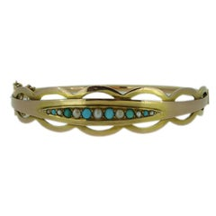Antique Gold Bangle, Turquoise Pearl Boatshape, Edwardian Era Hallmarked 1908