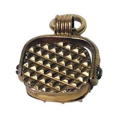 Antique Gold Basket Swivel Seal Fob, circa 1840