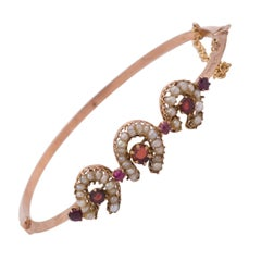 Antique Gold, Bead and Red Stones Bangle Bracelet, Late 19th Century