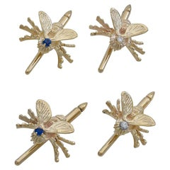 Antique Gold Bee Shirt Studs