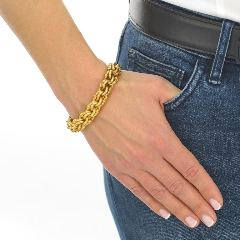 Antique Gold Bracelet French In Excellent Condition For Sale In Litchfield, CT