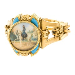 Antique Gold Bracelet with Calvary Officers Portrait