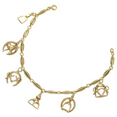 Antique Gold Bracelet with Equestrian Charms by Sloan & Company