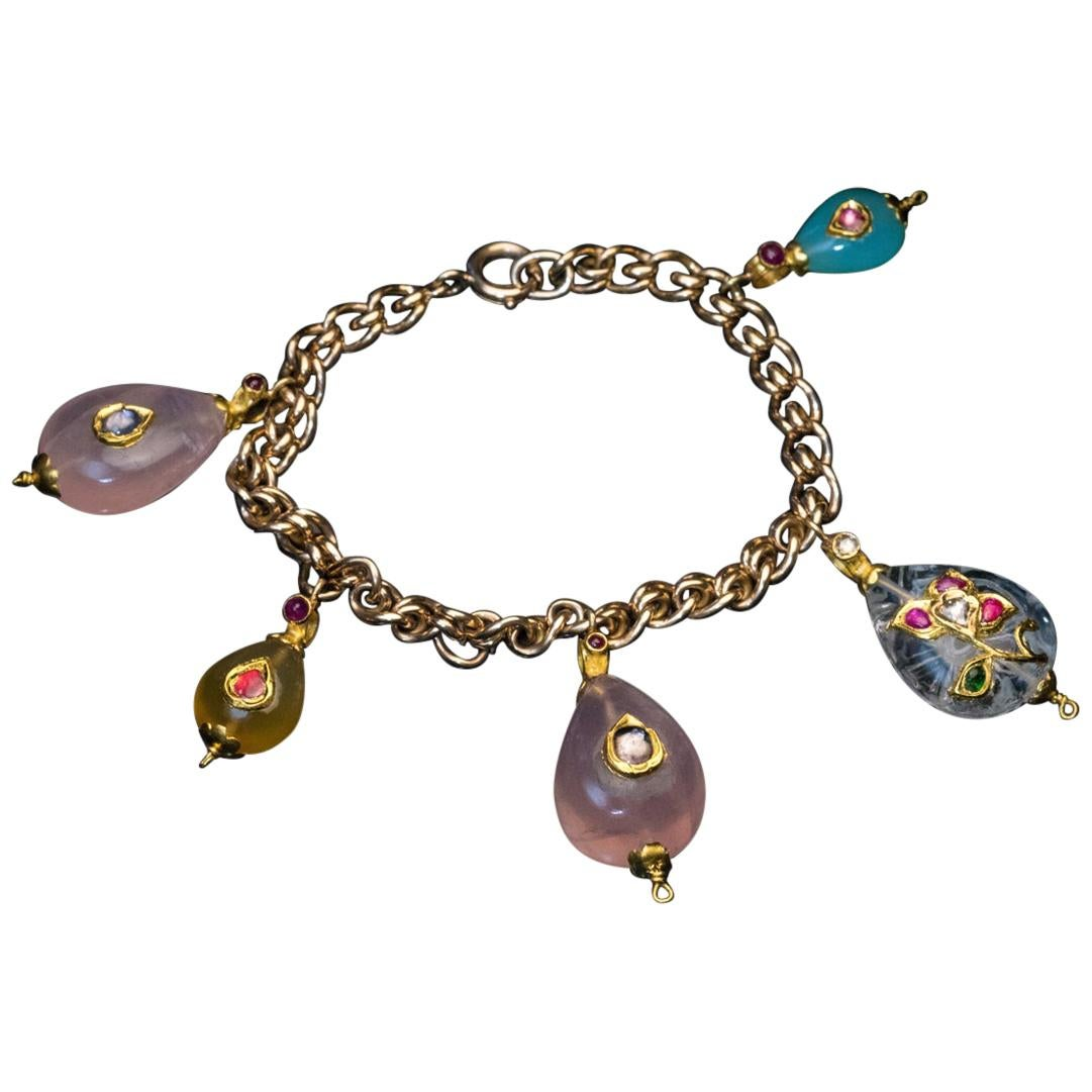 Antique Gold Bracelet with Mughal Jeweled Charms