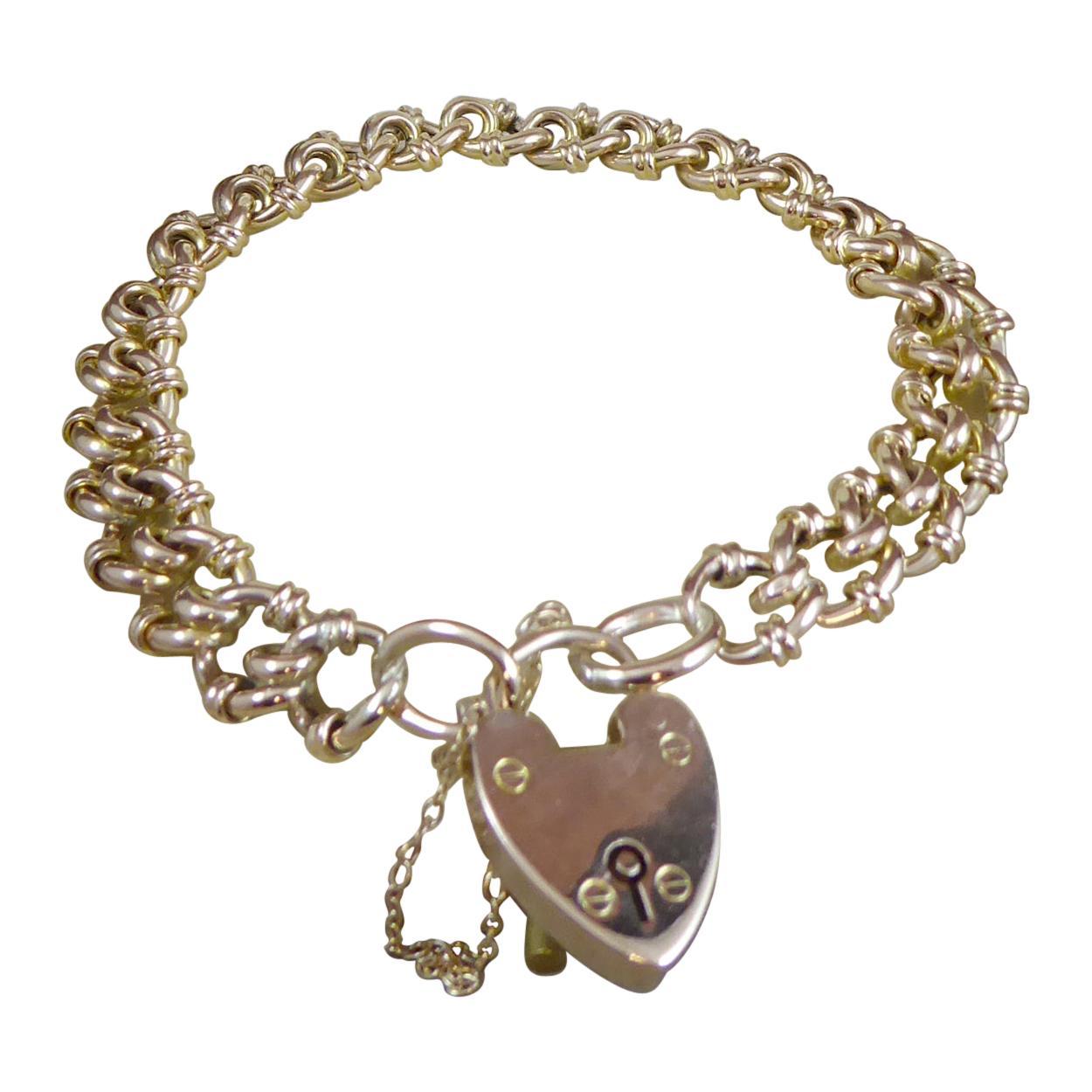 Antique Gold Bracelet with Padlock Hallmarked, Birmingham, 1901