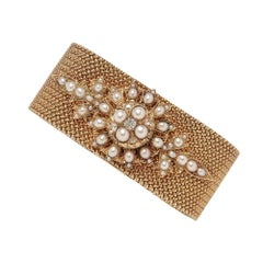 Antique Gold Bracelet with Pearl and Diamonds