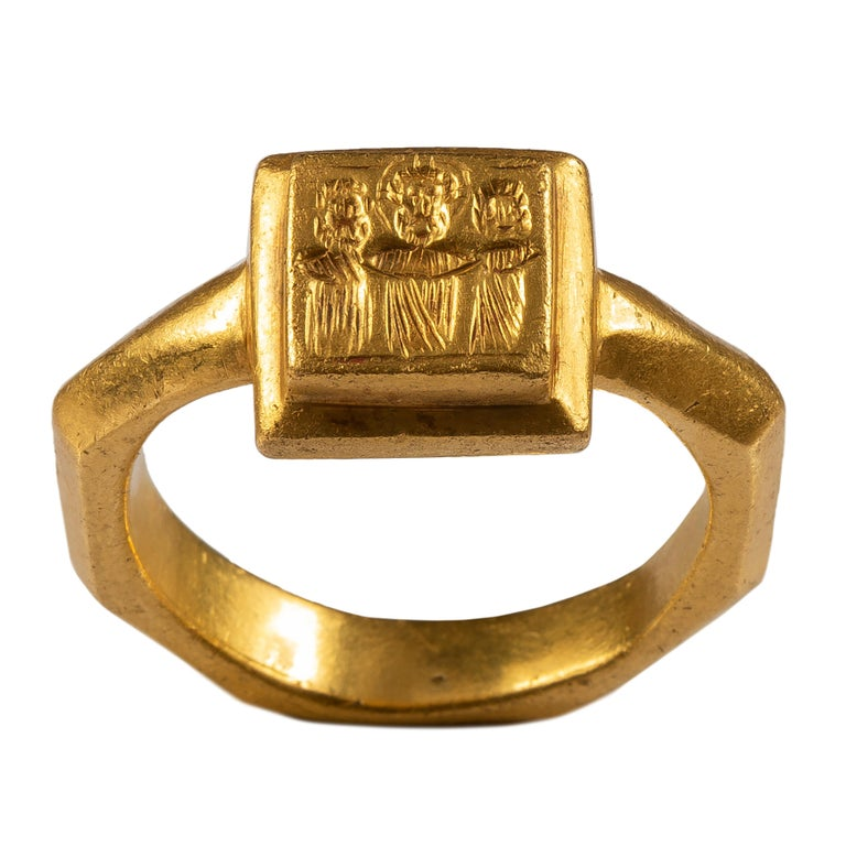 Byzantine Marriage Ring Byzantine Empire, 6th – 7th century AD Gold Weight 15.8 gr; circumference 60.98 mm; US size 9 1/2; UK size S ¾  Heavy gold ring with an octagonal hoop set with a rectangular-shaped bezel. The hoop is composed of a central rib