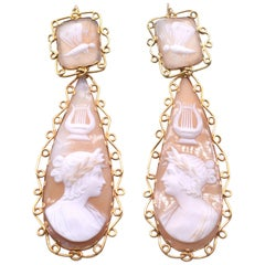Antique Gold Cameo Shell Earrings